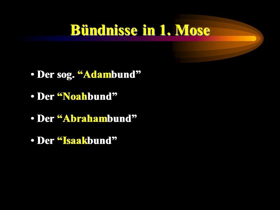 Bündnisse in 1. Mose Der sog. Adambund Der Noahbund Der Abrahambund Der Isaakbund