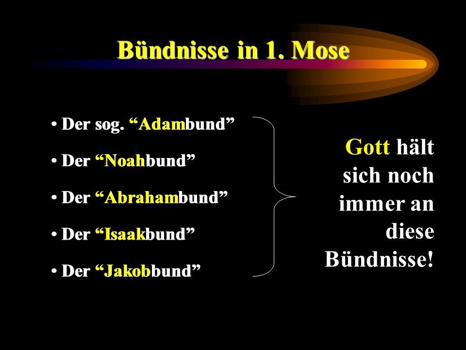 Bündnisse in 1. Mose Der sog. Adambund Der Noahbund Der Abrahambund Der Isaakbund Der Jakobbund Gott hält sich noch immer an diese Bündnisse!