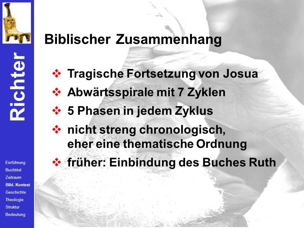 Richter Zeitraum Einführung Buchtitel Zeitraum Bibl. Kontext Geschichte Theologie Struktur Bedeutung