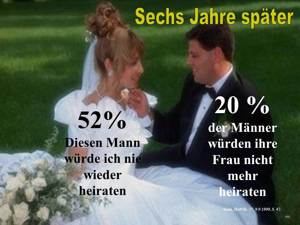 20 % der Männer würden ihre Frau nicht mehr heiraten 52% Diesen Mann würde ich nie wieder heiraten Stern, Heft Nr. 37, 9.9.1999, S. 47.
