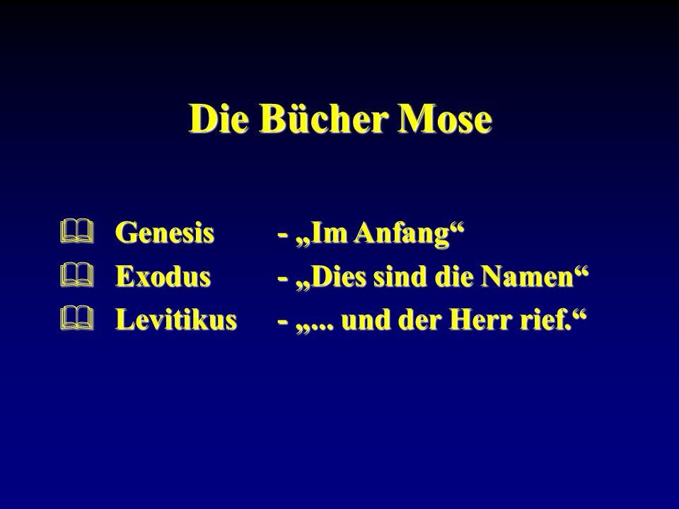 Genesis- Im Anfang Genesis- Im Anfang Exodus- Dies sind die Namen Exodus- Dies sind die Namen Levitikus-... und der Herr rief. Levitikus -... und der