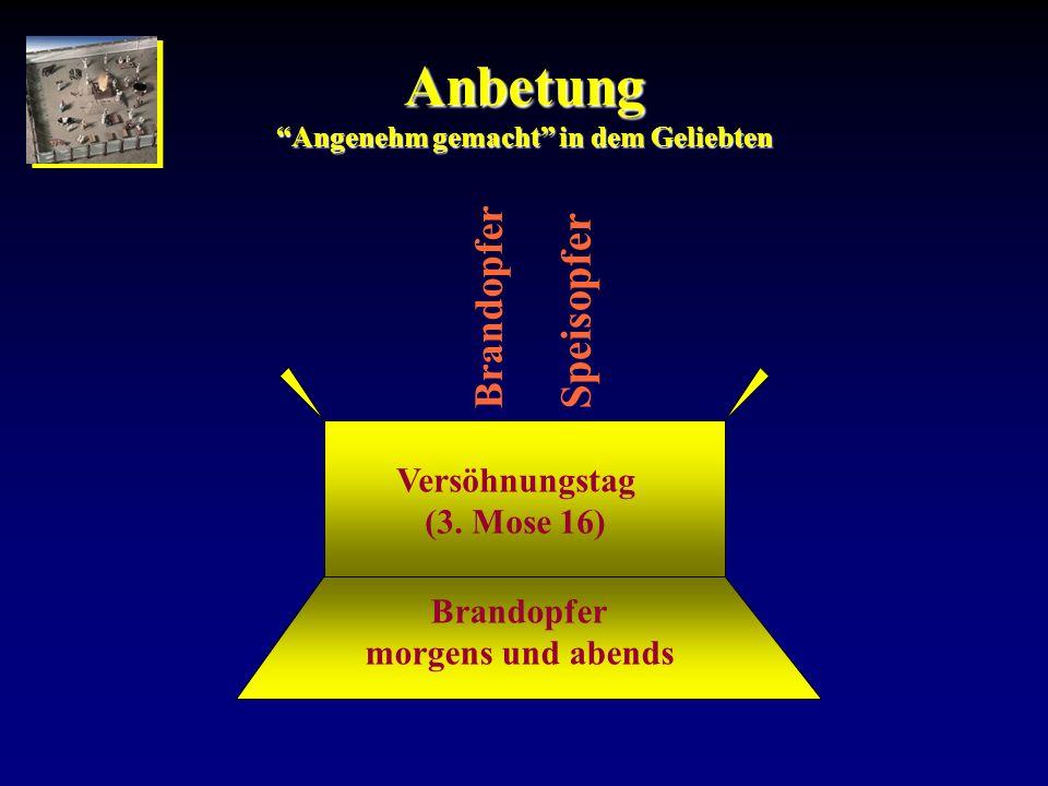 Anbetung Angenehm gemacht in dem Geliebten Brandopfer morgens und abends Versöhnungstag (3. Mose 16) Brandopfer Speisopfer