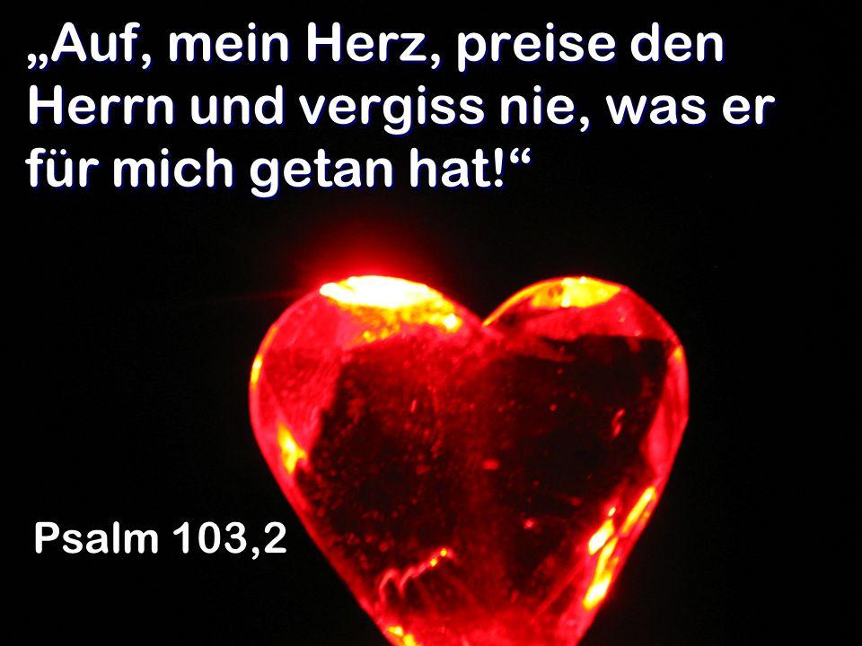Auf, mein Herz, preise den Herrn und vergiss nie, was er für mich getan hat! Psalm 103,2