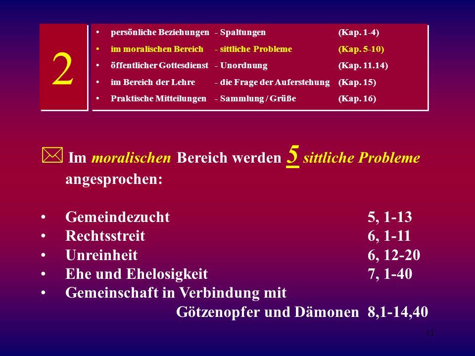 11 Im moralischen Bereich werden 5 sittliche Probleme angesprochen: Gemeindezucht 5, 1-13 Rechtsstreit6, 1-11 Unreinheit6, 12-20 Ehe und Ehelosigkeit7, 1-40 Gemeinschaft in Verbindung mit Götzenopfer und Dämonen8,1-14,40 persönliche Beziehungen - Spaltungen(Kap.