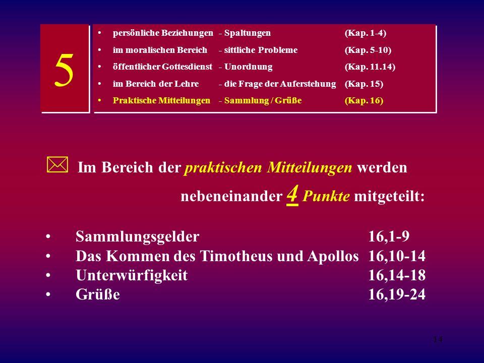 14 persönliche Beziehungen - Spaltungen(Kap.1-4) im moralischen Bereich - sittliche Probleme(Kap.