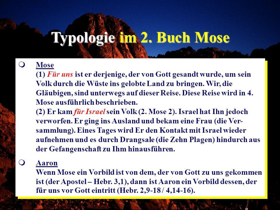Typologie im 2. Buch Mose Mose (1) Für uns ist er derjenige, der von Gott gesandt wurde, um sein Volk durch die Wüste ins gelobte Land zu bringen. Wir