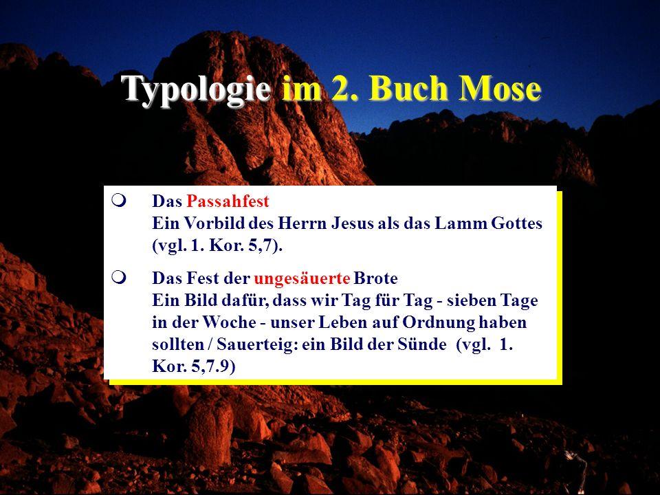 Typologie im 2. Buch Mose Das Passahfest Ein Vorbild des Herrn Jesus als das Lamm Gottes (vgl. 1. Kor. 5,7). Das Fest der ungesäuerte Brote Ein Bild d