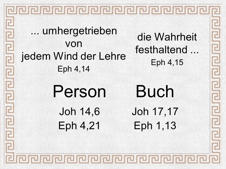PersonBuch Joh 14,6Joh 17,17 Eph 4,21Eph 1,13... umhergetrieben von jedem Wind der Lehre Eph 4,14 die Wahrheit festhaltend... Eph 4,15