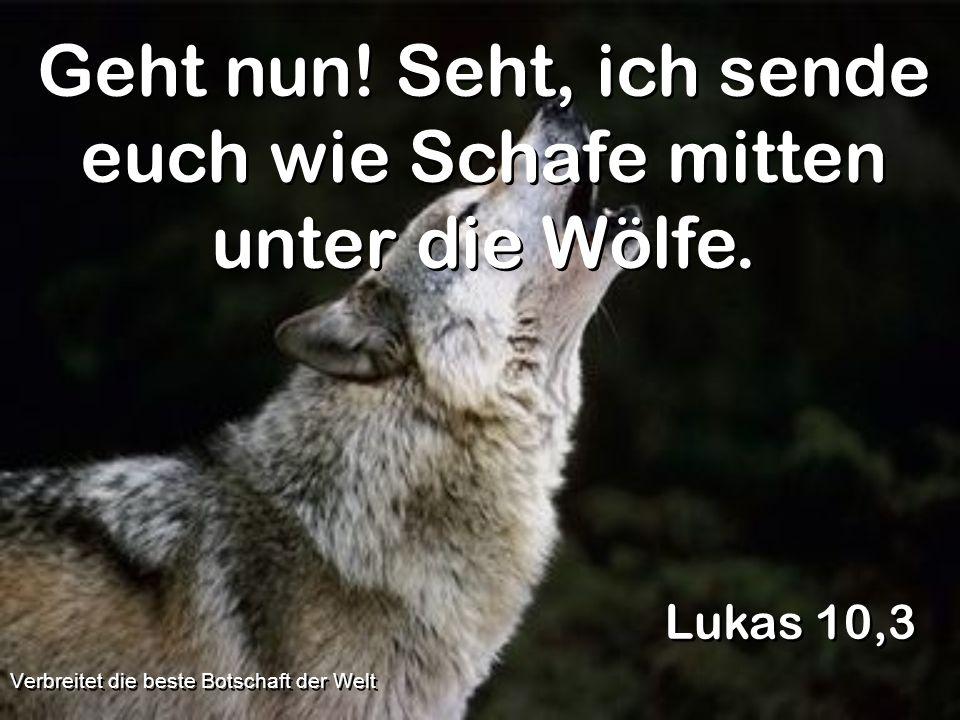 Geht nun! Seht, ich sende euch wie Schafe mitten unter die Wölfe. Lukas 10,3 Verbreitet die beste Botschaft der Welt