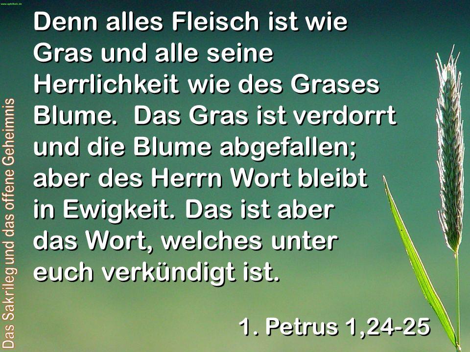 Denn alles Fleisch ist wie Gras und alle seine Herrlichkeit wie des Grases Blume. Das Gras ist verdorrt und die Blume abgefallen; aber des Herrn Wort