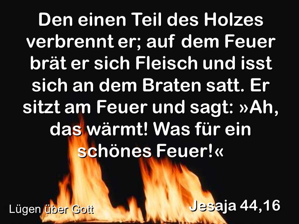 Den einen Teil des Holzes verbrennt er; auf dem Feuer brät er sich Fleisch und isst sich an dem Braten satt. Er sitzt am Feuer und sagt: »Ah, das wärm
