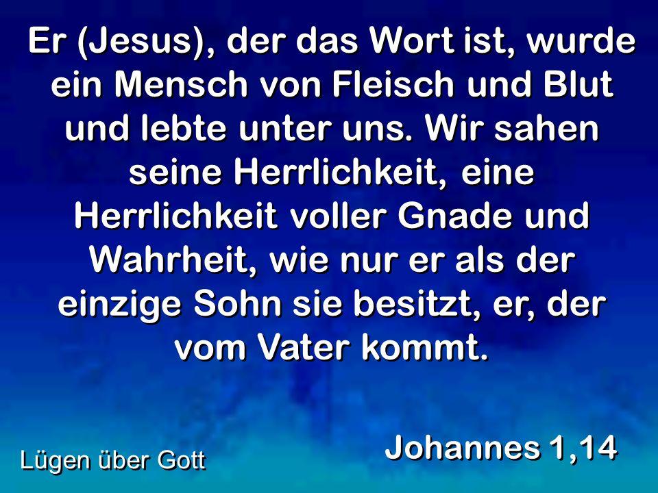 Er (Jesus), der das Wort ist, wurde ein Mensch von Fleisch und Blut und lebte unter uns. Wir sahen seine Herrlichkeit, eine Herrlichkeit voller Gnade