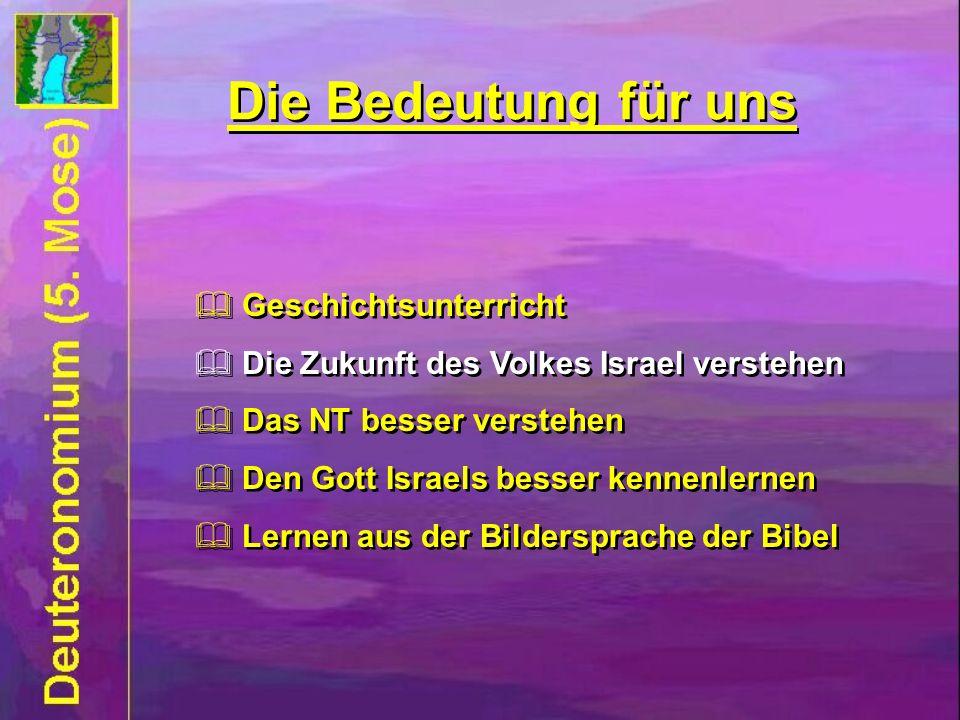 Die Bedeutung für uns Geschichtsunterricht Die Zukunft des Volkes Israel verstehen Das NT besser verstehen Den Gott Israels besser kennenlernen Lernen