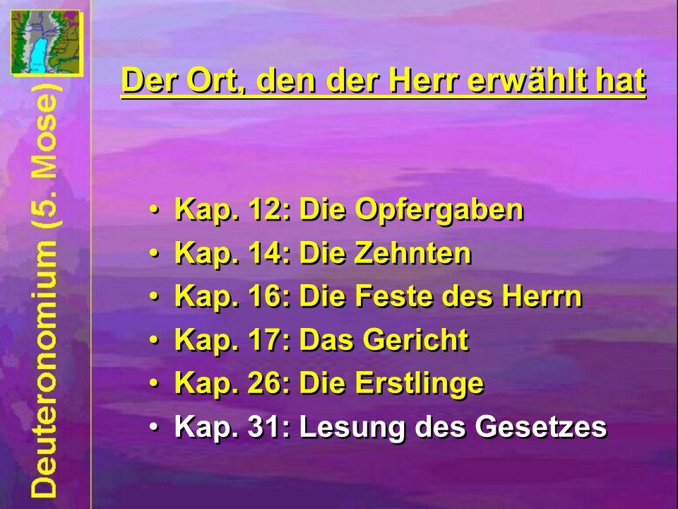 Kap. 12: Die Opfergaben Kap. 14: Die Zehnten Kap. 16: Die Feste des Herrn Kap. 17: Das Gericht Kap. 26: Die Erstlinge Kap. 31: Lesung des Gesetzes Kap