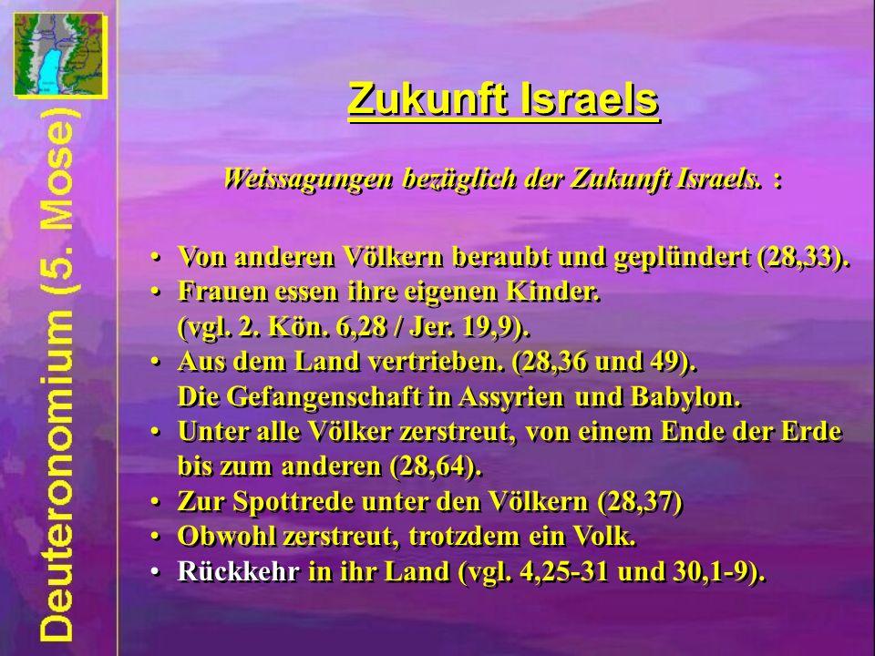Zukunft Israels Weissagungen bezüglich der Zukunft Israels. : Von anderen Völkern beraubt und geplündert (28,33). Frauen essen ihre eigenen Kinder. (v