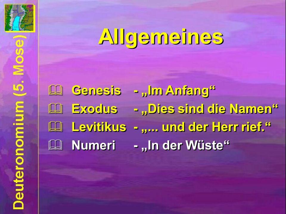 Allgemeines Genesis- Im Anfang Exodus- Dies sind die Namen Levitikus -... und der Herr rief. Numeri - In der Wüste Genesis- Im Anfang Exodus- Dies sin