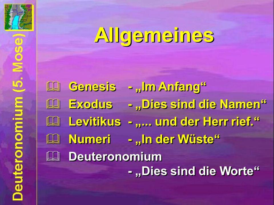 Allgemeines Genesis- Im Anfang Exodus- Dies sind die Namen Levitikus -... und der Herr rief. Numeri - In der Wüste Deuteronomium - Dies sind die Worte