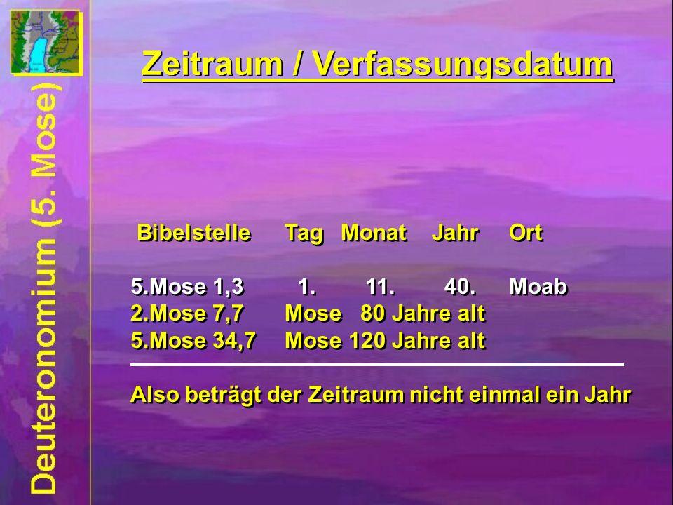 Zeitraum / Verfassungsdatum Bibelstelle Tag Monat JahrOrt 5.Mose 1,3 1.