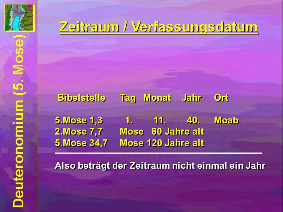Zeitraum / Verfassungsdatum Bibelstelle Tag Monat JahrOrt 5.Mose 1,3 1. 11. 40.Moab 2.Mose 7,7Mose 80 Jahre alt 5.Mose 34,7Mose 120 Jahre alt Also bet