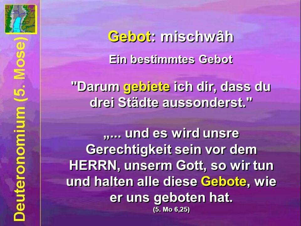 Gebot: mischwâh Ein bestimmtes Gebot Gebot: mischwâh Ein bestimmtes Gebot Darum gebiete ich dir, dass du drei Städte aussonderst. ...