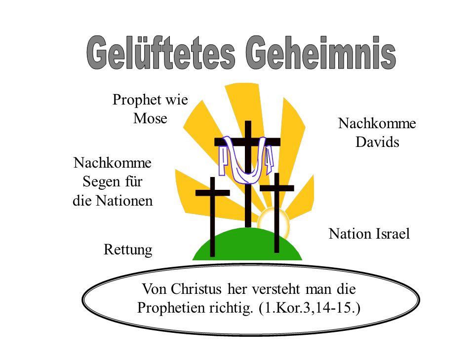 Rettung Nachkomme Segen für die Nationen Nation Israel Prophet wie Mose Nachkomme Davids Von Christus her versteht man die Prophetien richtig. (1.Kor.