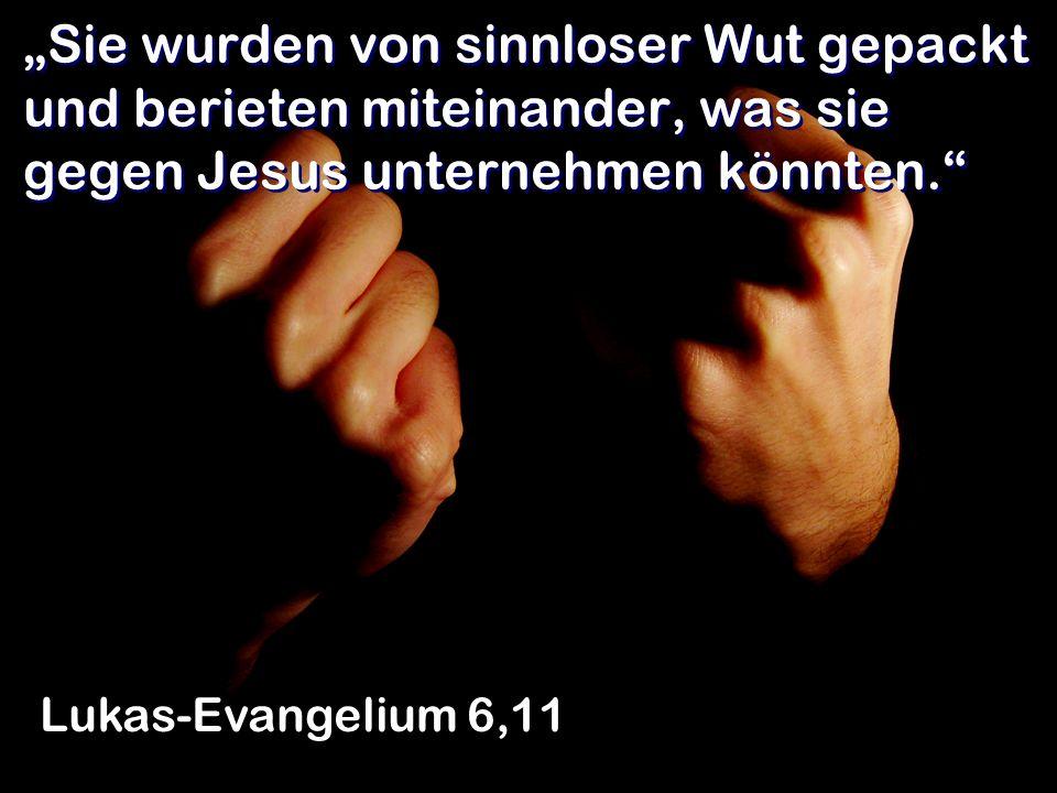 Sie wurden von sinnloser Wut gepackt und berieten miteinander, was sie gegen Jesus unternehmen könnten. Lukas-Evangelium 6,11