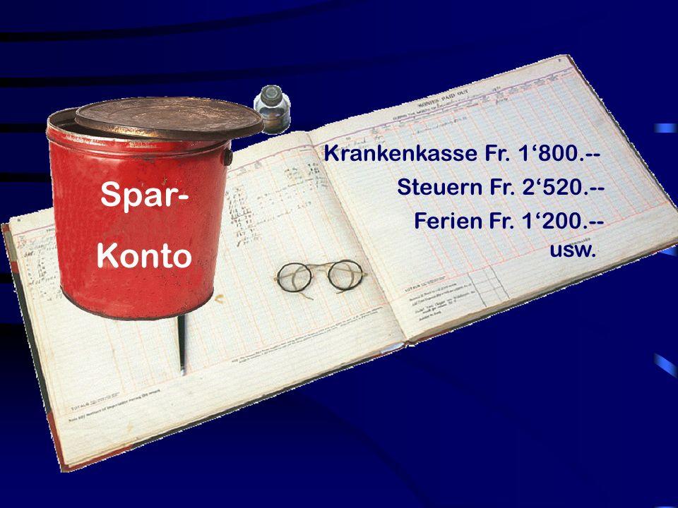 Spar- Konto Krankenkasse Fr. 1800.-- Steuern Fr. 2520.-- Ferien Fr. 1200.-- usw.