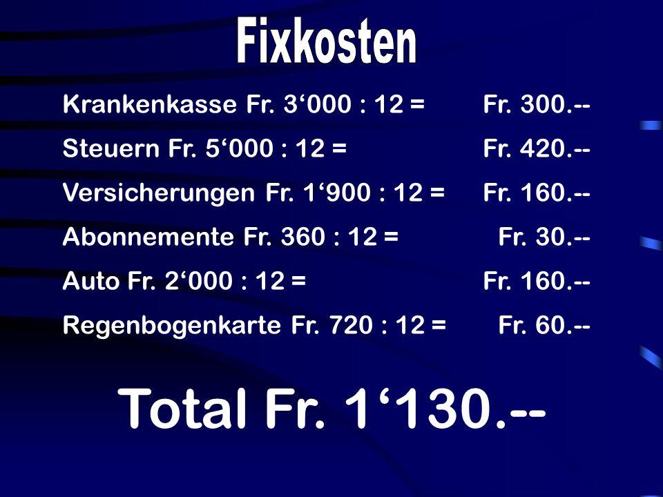 Krankenkasse Fr. 3000 : 12 =Fr. 300.-- Steuern Fr.