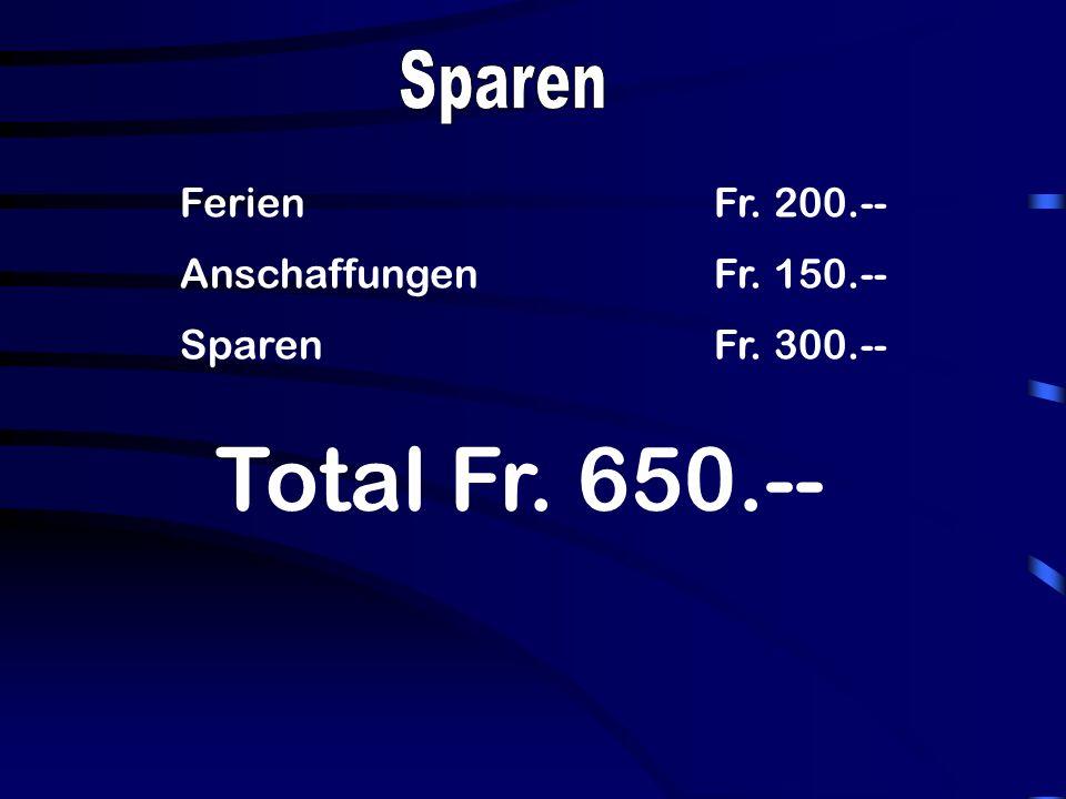 FerienFr. 200.-- AnschaffungenFr. 150.-- SparenFr. 300.-- Total Fr. 650.--