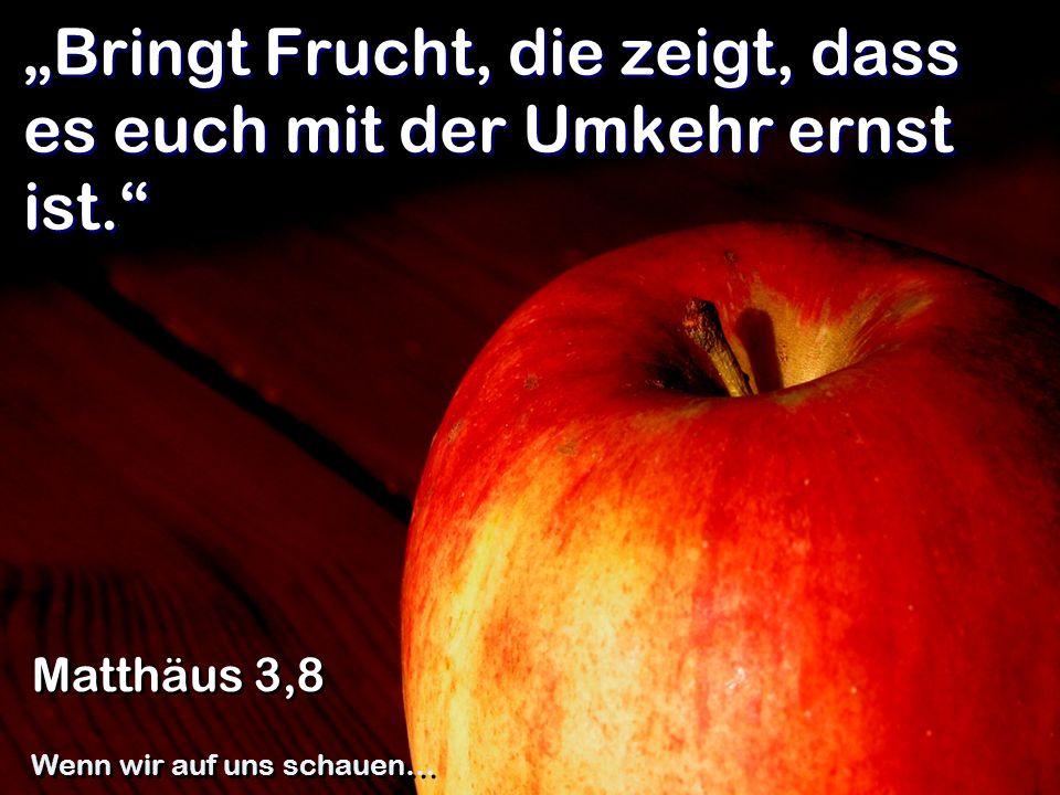 Bringt Frucht, die zeigt, dass es euch mit der Umkehr ernst ist. Matthäus 3,8 Wenn wir auf uns schauen…