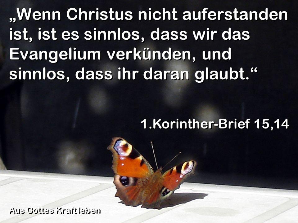 Wenn Christus nicht auferstanden ist, ist es sinnlos, dass wir das Evangelium verkünden, und sinnlos, dass ihr daran glaubt. 1.Korinther-Brief 15,14 A