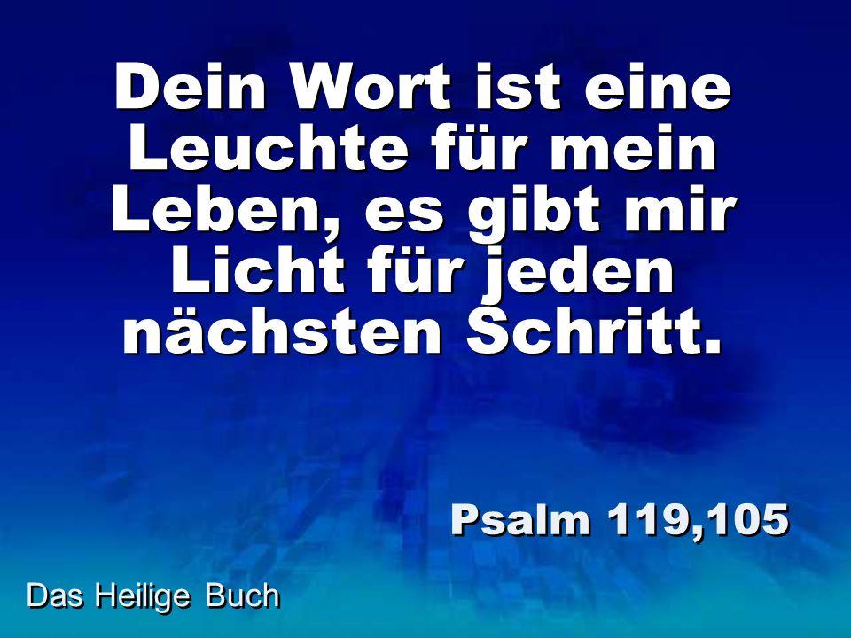 Das Heilige Buch Dein Wort ist eine Leuchte für mein Leben, es gibt mir Licht für jeden nächsten Schritt. Psalm 119,105