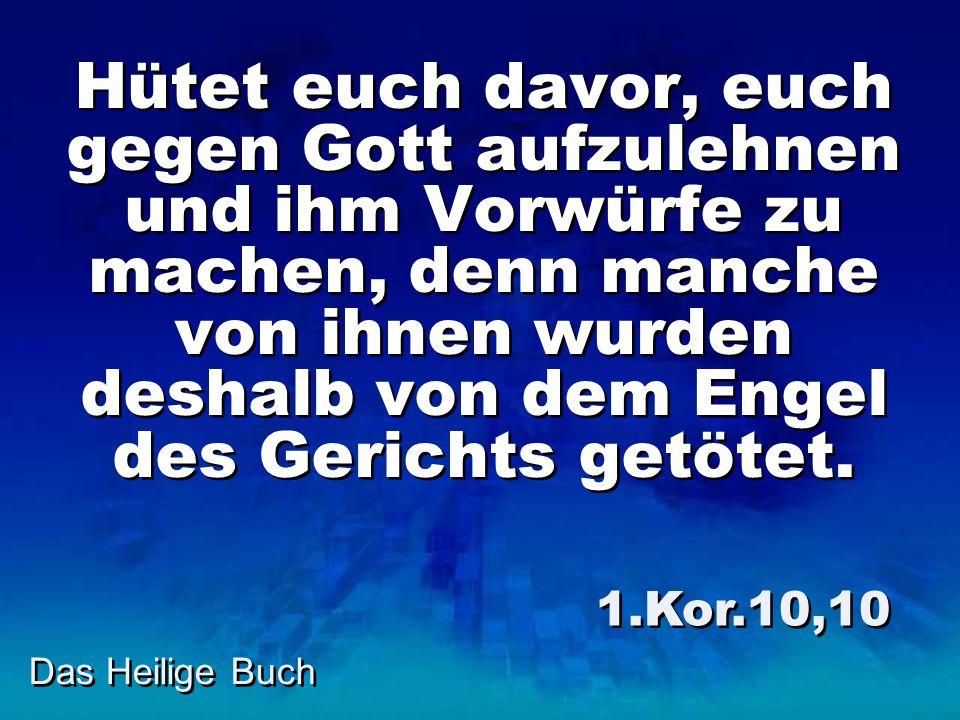 Das Heilige Buch Hütet euch davor, euch gegen Gott aufzulehnen und ihm Vorwürfe zu machen, denn manche von ihnen wurden deshalb von dem Engel des Geri