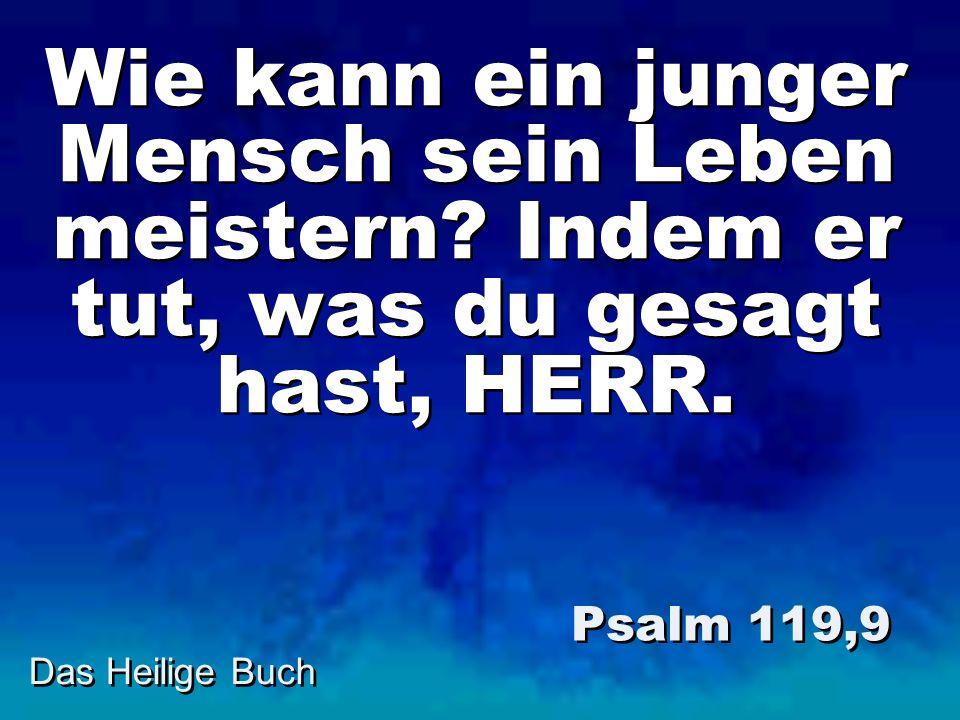 Das Heilige Buch Wie kann ein junger Mensch sein Leben meistern? Indem er tut, was du gesagt hast, HERR. Psalm 119,9