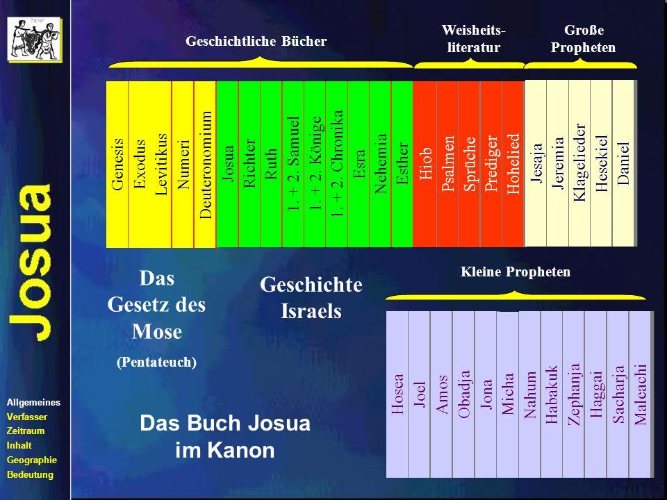 Genesis Exodus Levitikus Numeri Deuteronomium Thora Das Buch Josua im Kanon Allgemeines Verfasser Zeitraum Inhalt Geographie Bedeutung