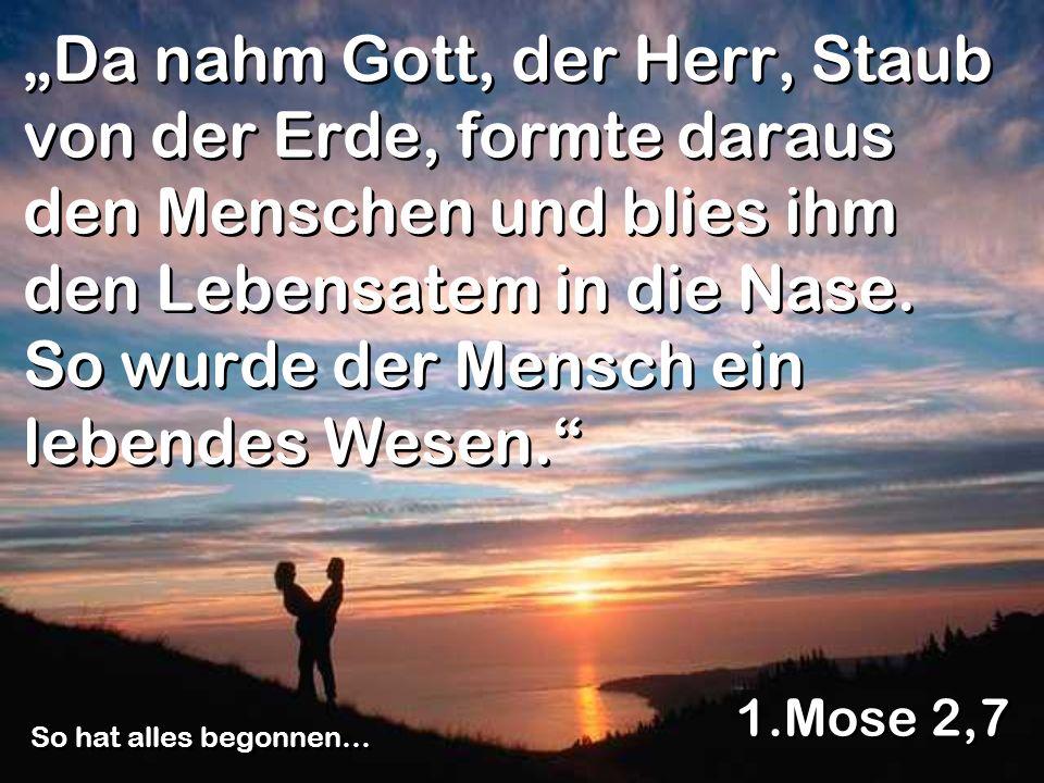Da nahm Gott, der Herr, Staub von der Erde, formte daraus den Menschen und blies ihm den Lebensatem in die Nase. So wurde der Mensch ein lebendes Wese