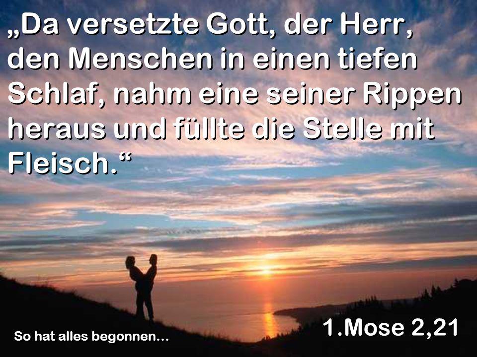 Da versetzte Gott, der Herr, den Menschen in einen tiefen Schlaf, nahm eine seiner Rippen heraus und füllte die Stelle mit Fleisch. 1.Mose 2,21 So hat