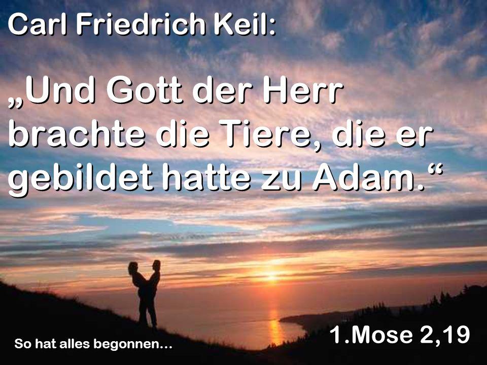Und Gott der Herr brachte die Tiere, die er gebildet hatte zu Adam. 1.Mose 2,19 So hat alles begonnen… Carl Friedrich Keil: