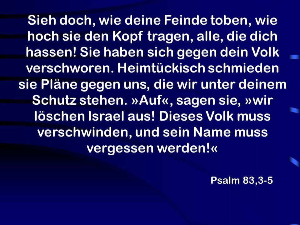 Psalm 83,3-5 Sieh doch, wie deine Feinde toben, wie hoch sie den Kopf tragen, alle, die dich hassen.