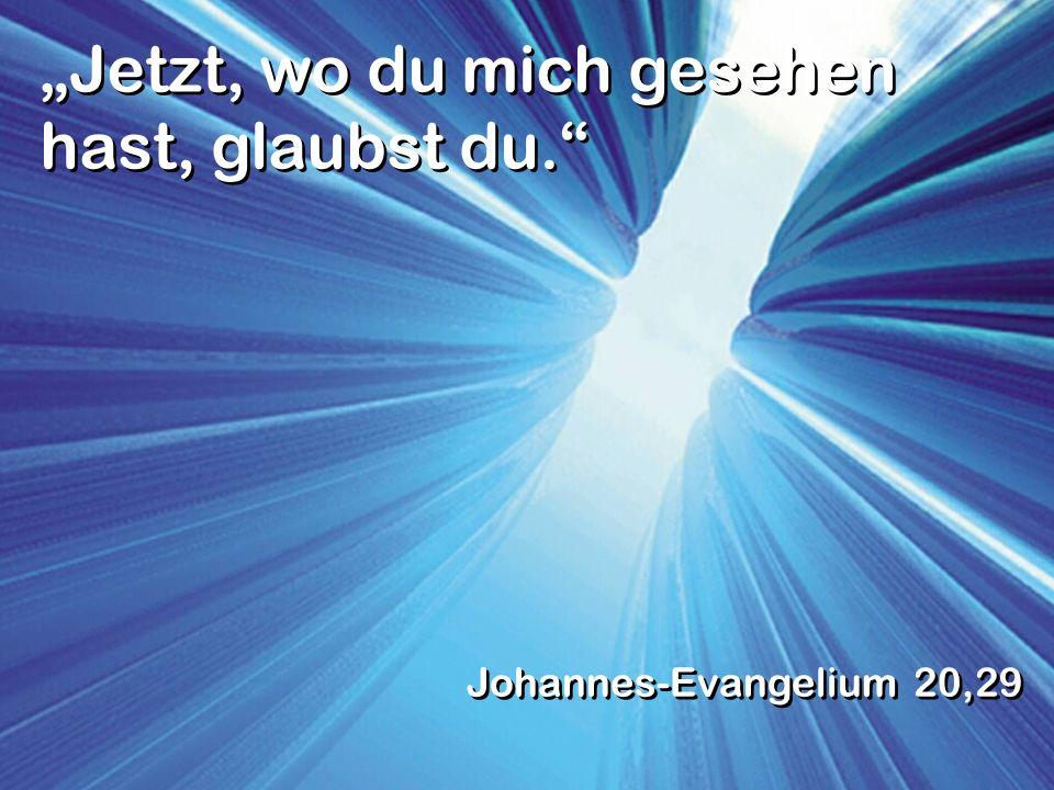 Jetzt, wo du mich gesehen hast, glaubst du. Johannes-Evangelium 20,29