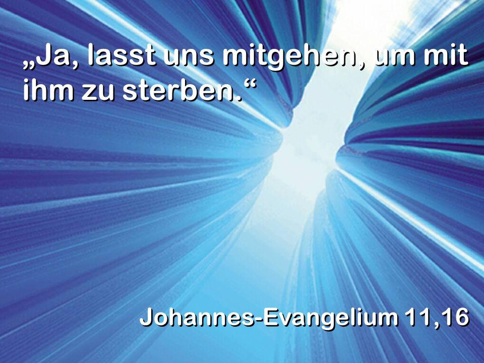 Ja, lasst uns mitgehen, um mit ihm zu sterben. Johannes-Evangelium 11,16