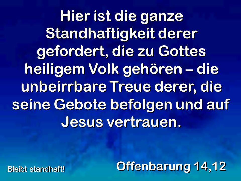 Hier ist die ganze Standhaftigkeit derer gefordert, die zu Gottes heiligem Volk gehören – die unbeirrbare Treue derer, die seine Gebote befolgen und a