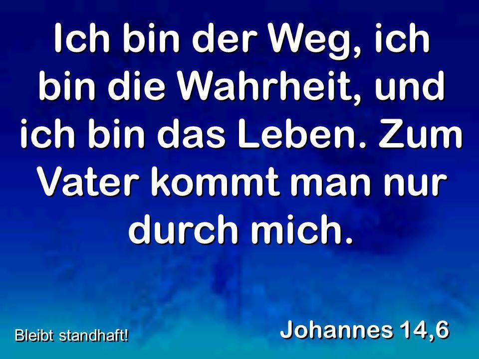 Ich bin der Weg, ich bin die Wahrheit, und ich bin das Leben. Zum Vater kommt man nur durch mich. Johannes 14,6 Bleibt standhaft!