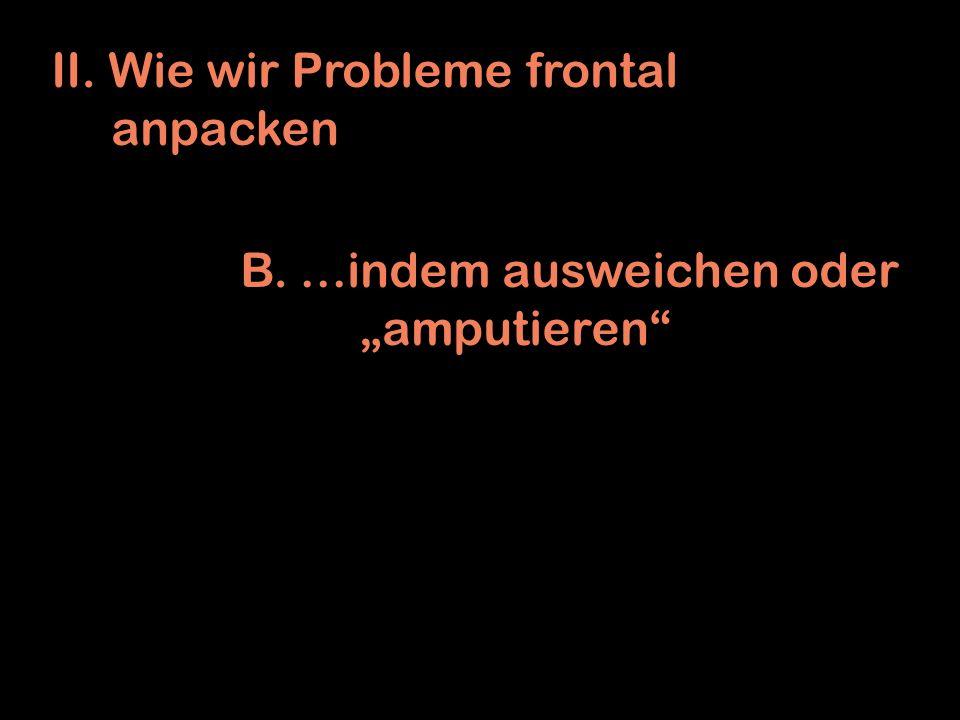 II. Wie wir Probleme frontal anpacken B. …indem ausweichen oder amputieren