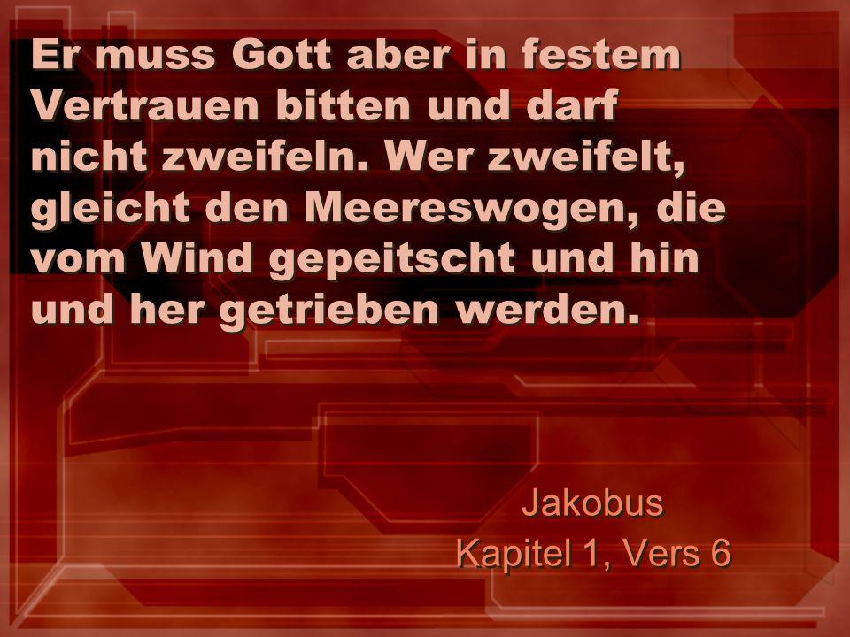 Er muss Gott aber in festem Vertrauen bitten und darf nicht zweifeln. Wer zweifelt, gleicht den Meereswogen, die vom Wind gepeitscht und hin und her g