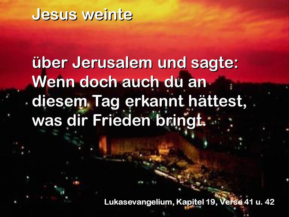 über Jerusalem und sagte: Wenn doch auch du an diesem Tag erkannt hättest, was dir Frieden bringt. Jesus weinte über Jerusalem und sagte: Wenn doch au