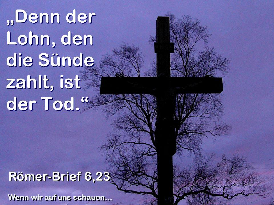 Denn der Lohn, den die Sünde zahlt, ist der Tod. Römer-Brief 6,23 Wenn wir auf uns schauen…