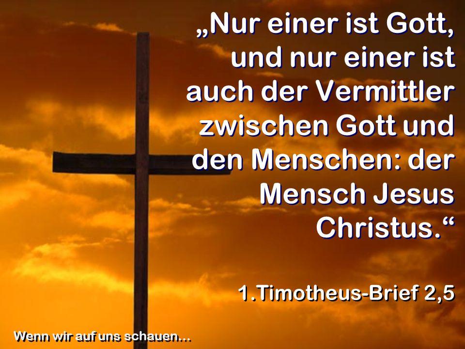 Nur einer ist Gott, und nur einer ist auch der Vermittler zwischen Gott und den Menschen: der Mensch Jesus Christus. 1.Timotheus-Brief 2,5 Wenn wir au