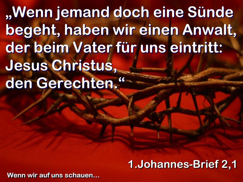 Wenn jemand doch eine Sünde begeht, haben wir einen Anwalt, der beim Vater für uns eintritt: Jesus Christus, den Gerechten. 1.Johannes-Brief 2,1 Wenn