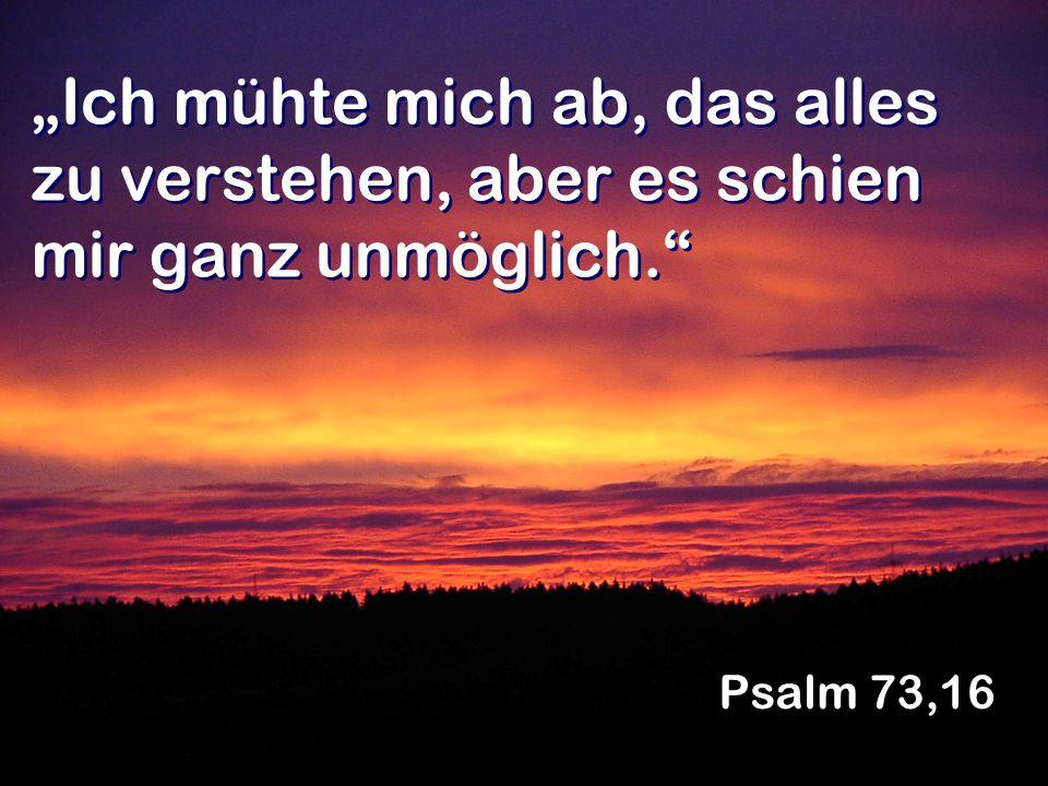 Ich mühte mich ab, das alles zu verstehen, aber es schien mir ganz unmöglich. Psalm 73,16